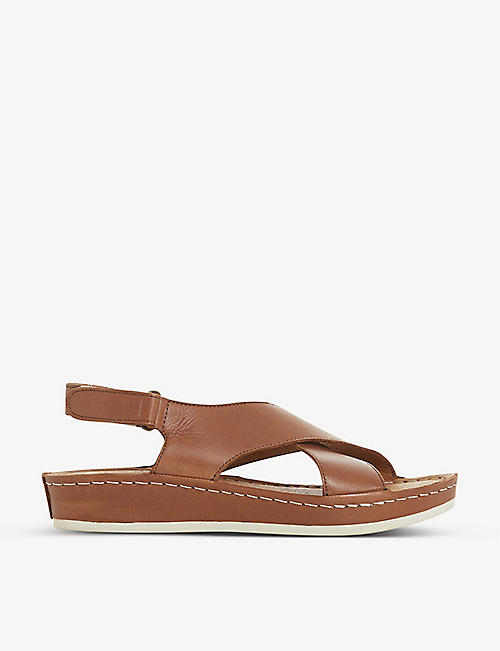 BERTIE: Lauder crossover leather wedged sandals