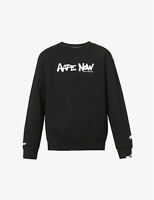 AAPE: Logo-print cotton-blend jersey sweatshirt