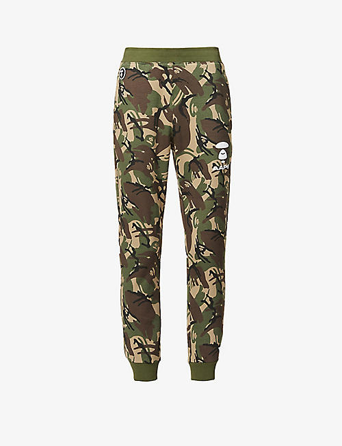 AAPE: Camouflage and logo-print cotton-blend jogging bottoms