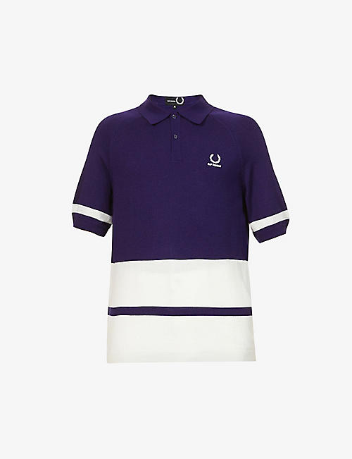 RAF SIMONS X FRED PERRY: Logo-embroidered wool-blend polo shirt