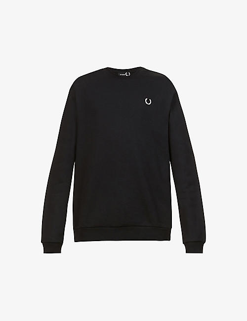 RAF SIMONS X FRED PERRY: Logo-plaque cotton-jersey sweatshirt