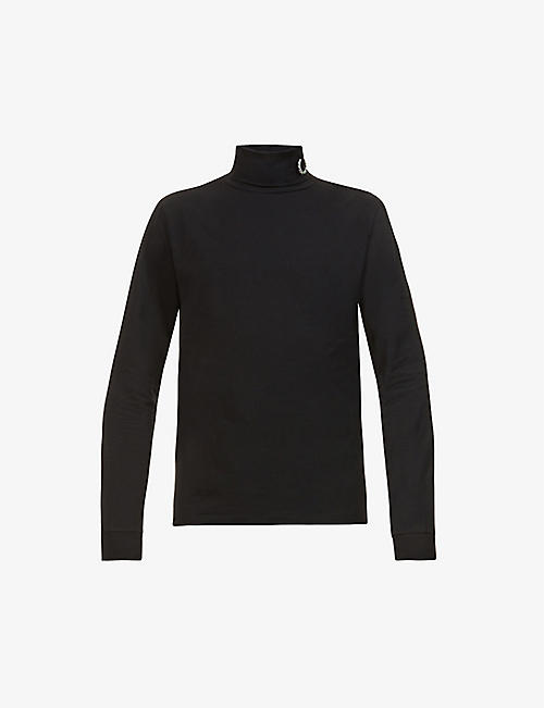 RAF SIMONS X FRED PERRY: Brand-plaque turtleneck stretch-cotton top