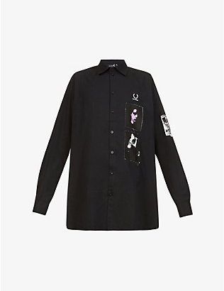 RAF SIMONS X FRED PERRY: Brand-embroidered oversized cotton shirt