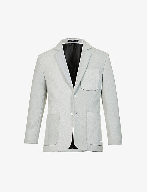 CLOTHSURGEON: Brand-embroidered upcycled cotton-blend blazer