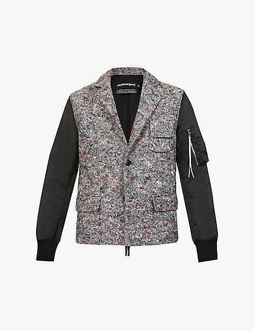CLOTHSURGEON: Contrast-sleeved recycled-wool and deadstock-shell blazer