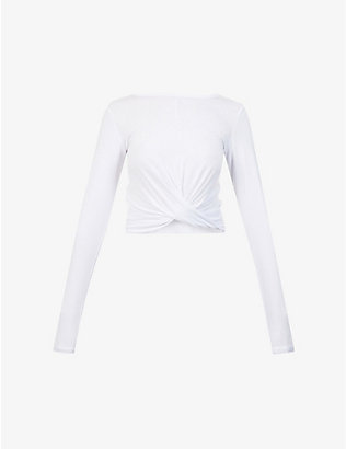 LORNA JANE: Flawless knot-detail cropped stretch-jersey top