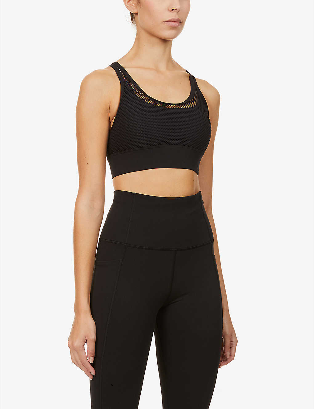 LORNA JANE: Athletic mesh-overlay stretch-jersey sports bra