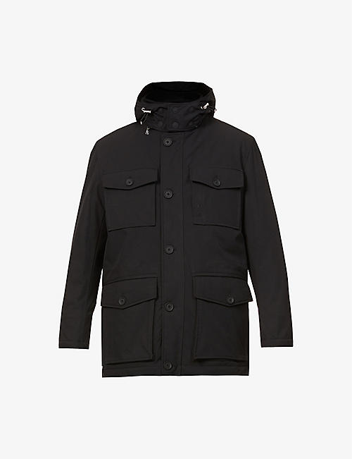 OSCAR JACOBSON: Colton funnel-neck shell coat