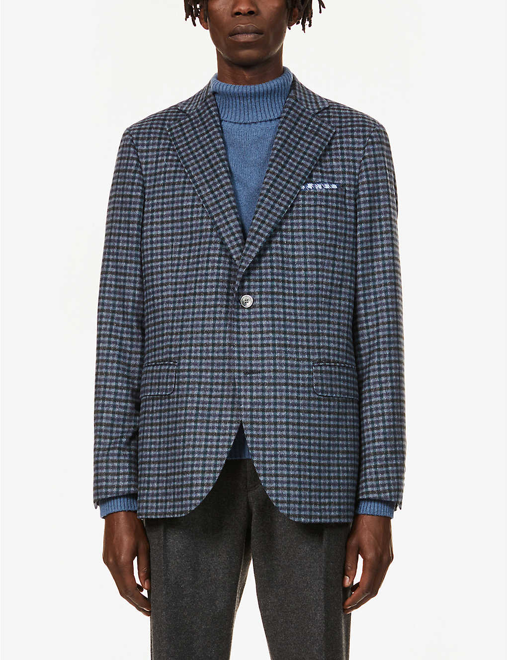 OSCAR JACOBSON: Check-print wool jacket