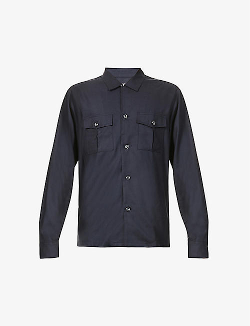 OSCAR JACOBSON: Haidar patch-pocket regular-fit cotton overshirt