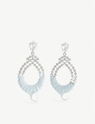 OTTOLINGER: Wax-dipped crystal-embellished earrings