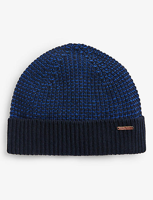 TED BAKER: Chair two-tone beanie hat