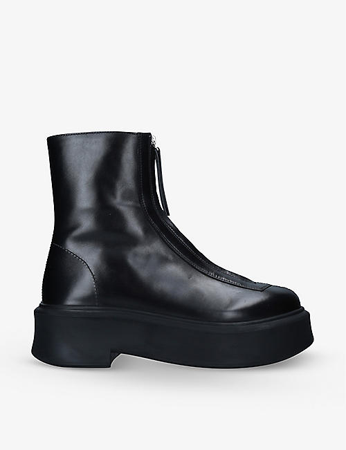 THE ROW: Zipped leather ankle boots