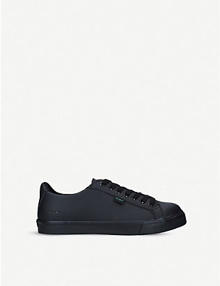 KICKERS: Tovni leather low-top trainers 9-10 years