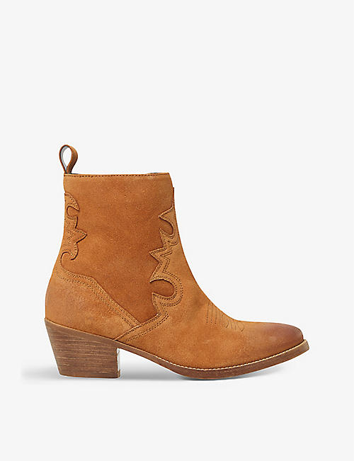 BERTIE: Paddie western-style suede ankle boots