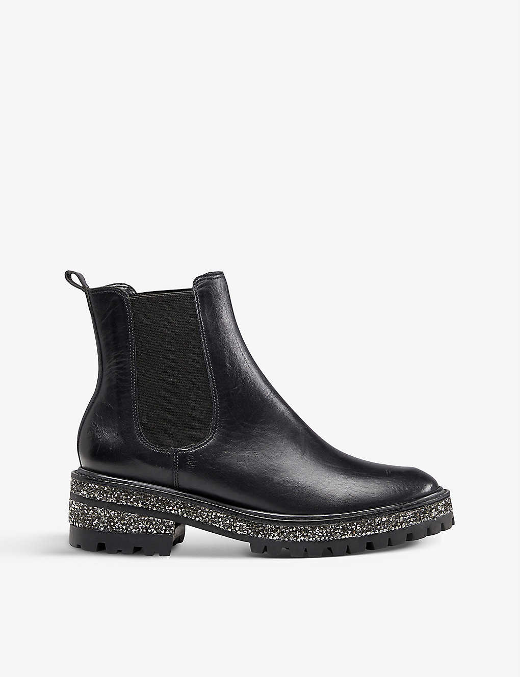 DUNE: Panorama glitter-embellished leather Chelsea boots