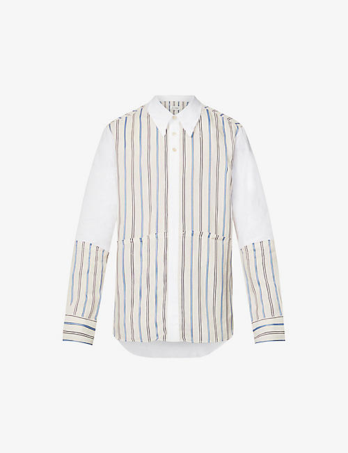 WALES BONNER: Sterling striped crepe and cotton shirt
