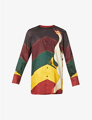 WALES BONNER: Frank graphic-print relaxed-fit cotton shirt
