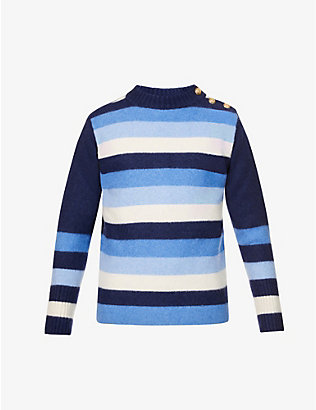WALES BONNER: Johnson striped crewneck wool jumper