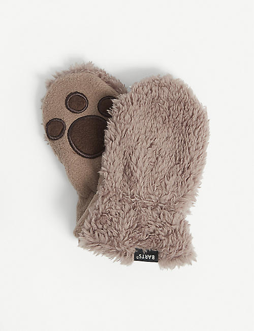 BARTS AL: Paw-patterned faux-fur mittens