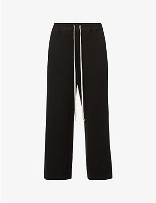 RICK OWENS DRKSHDW: Felpa cropped wide-leg high-rise cotton-jersey jogging bottoms