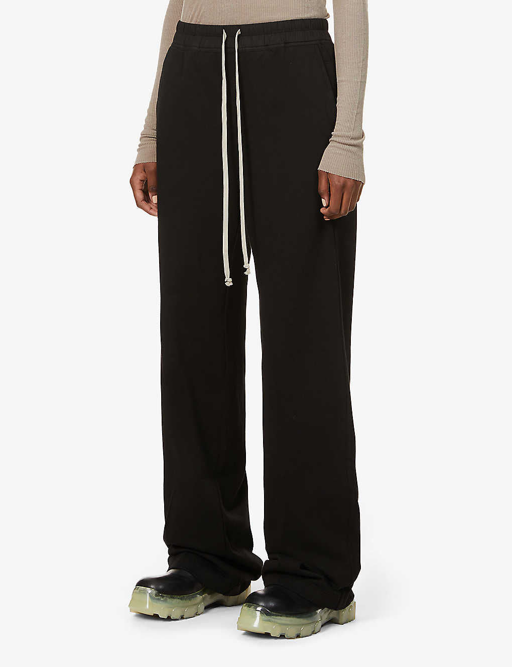 RICK OWENS DRKSHDW: Wide-leg high-rise cotton-jersey jogging bottoms