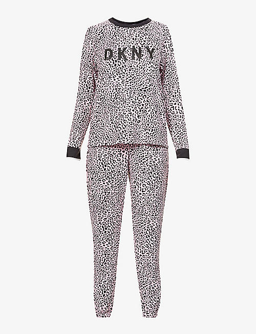 DKNY: Logo-detail animal-print stretch-jersey pyjama set