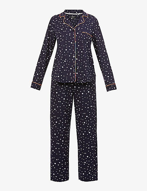 DKNY: Star-patterned stretch-jersey pyjama set