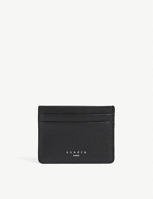 SANDRO: Textured-leather cardholder