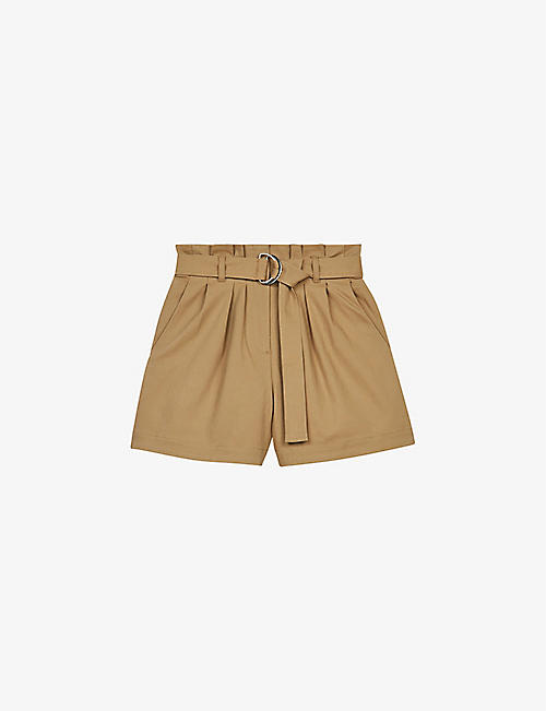 MAJE: Pura belted high-rise stretch-cotton shorts