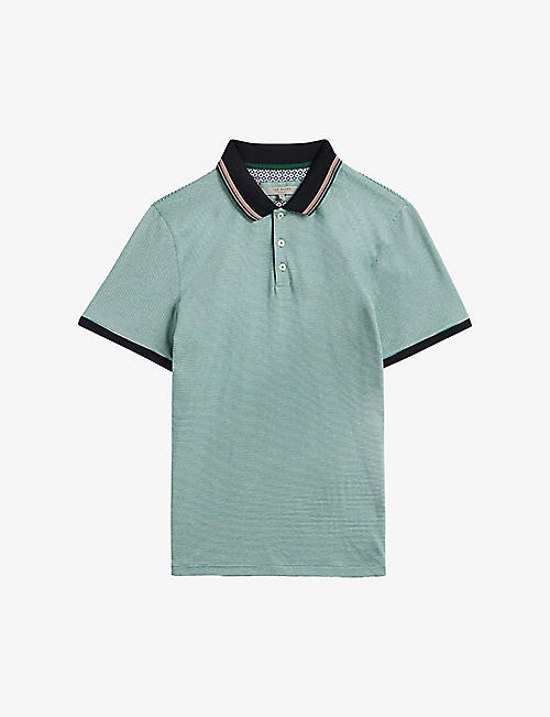 TED BAKER: Striped regular-fit cotton polo shirt