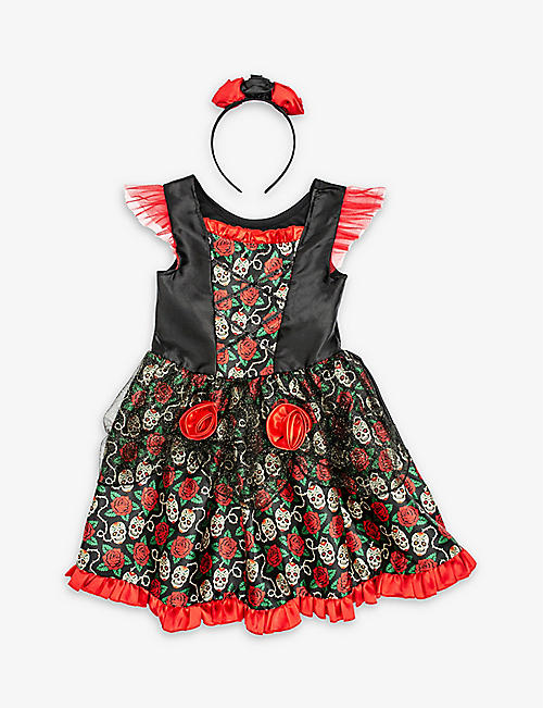 DRESS UP: Rose floral-print Day of the Dead dressing-up costume 7-8 years