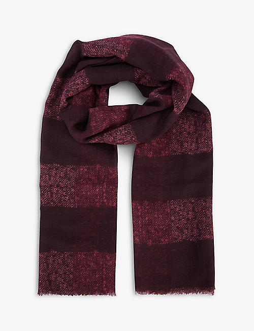 OSCAR JACOBSON: Striped wool scarf