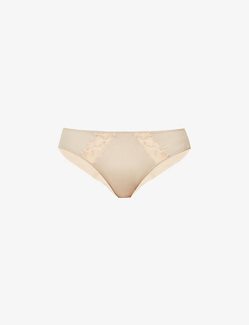 WACOAL: Lisse mid-rise lace and cotton-blend jersey briefs