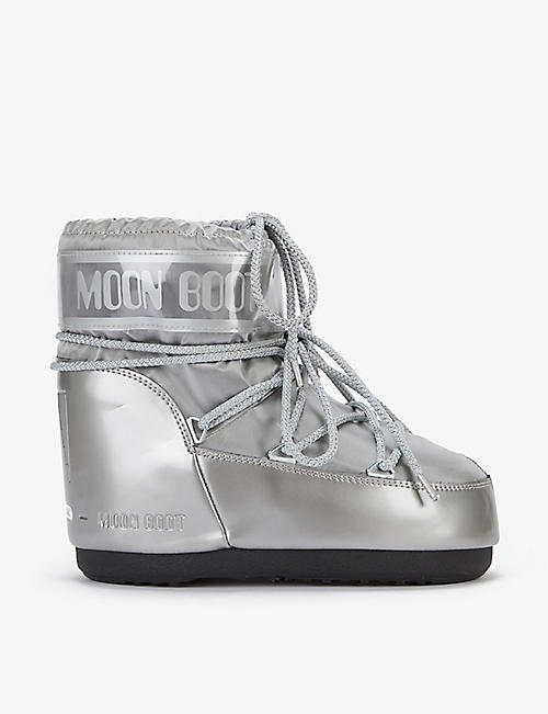 MOON BOOT: Classic Low Glance logo-print shell boots