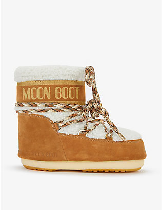 MOON BOOT: Logo-embossed lace-up shearling snow boots