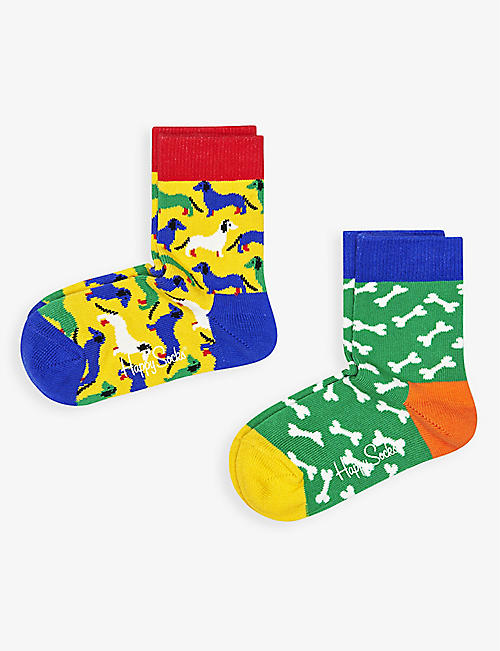 HAPPY SOCKS: Dog and bone organic-cotton blend socks pack of two 2-9 years