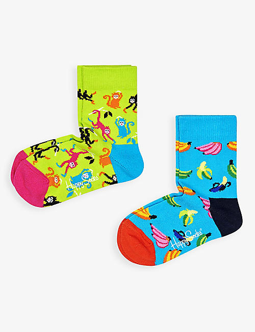 HAPPY SOCKS: Monkey and banana organic-cotton blend socks pack of two 2-9 years