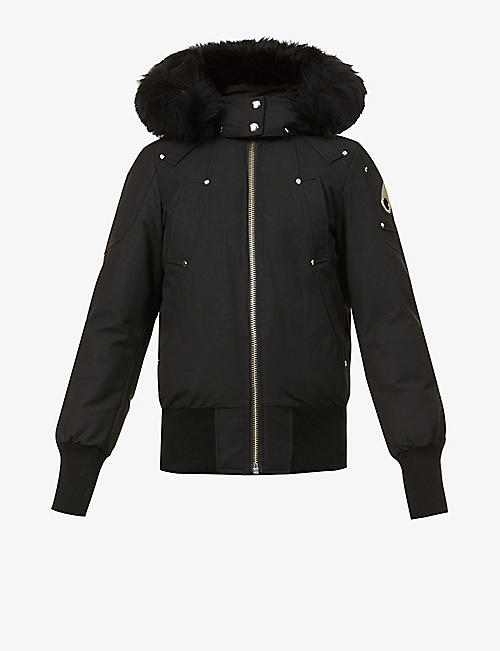 MOOSE KNUCKLES: Debbie shearling-trim hood cotton-blend jacket