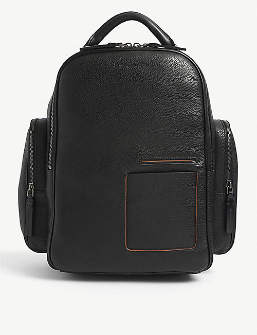 ERMENEGILDO ZEGNA: Brand-embossed zipped grained-leather backpack