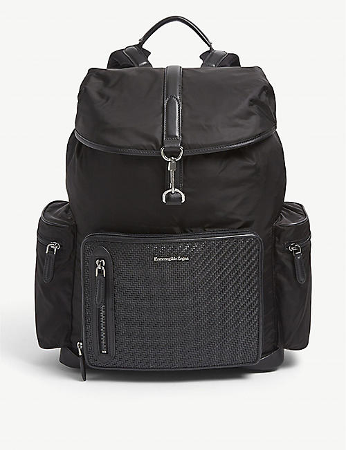 ERMENEGILDO ZEGNA: Pelletessuta padded woven backpack