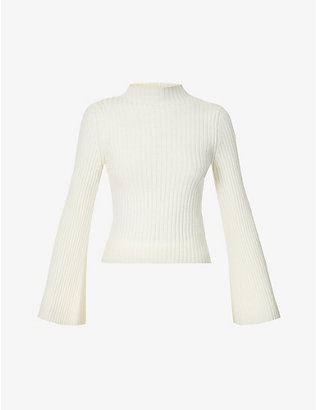 CORDOVA: Solitude bell-sleeve wool-cashmere blend top
