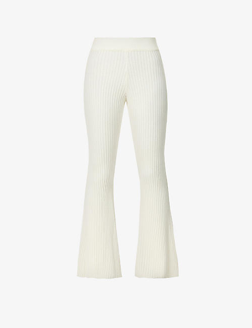 CORDOVA: Solitude flared high-rise wool-cashmere blend trousers