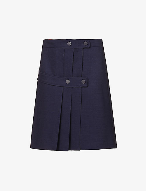 SEE BY CHLOE: Pleated high-waist stretch-woven mini skirt