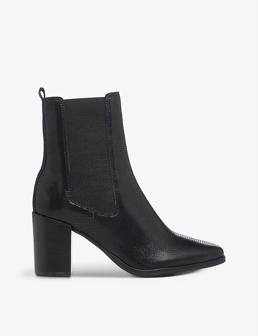 DUNE: Poste lizard-embossed leather heeled Chelsea boots