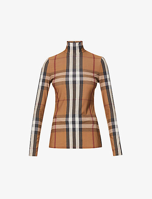 BURBERRY: Check-print turtleneck stretch-knit top