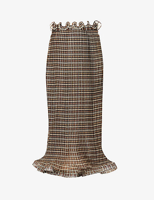 BURBERRY: Structured-hem check organza maxi skirt