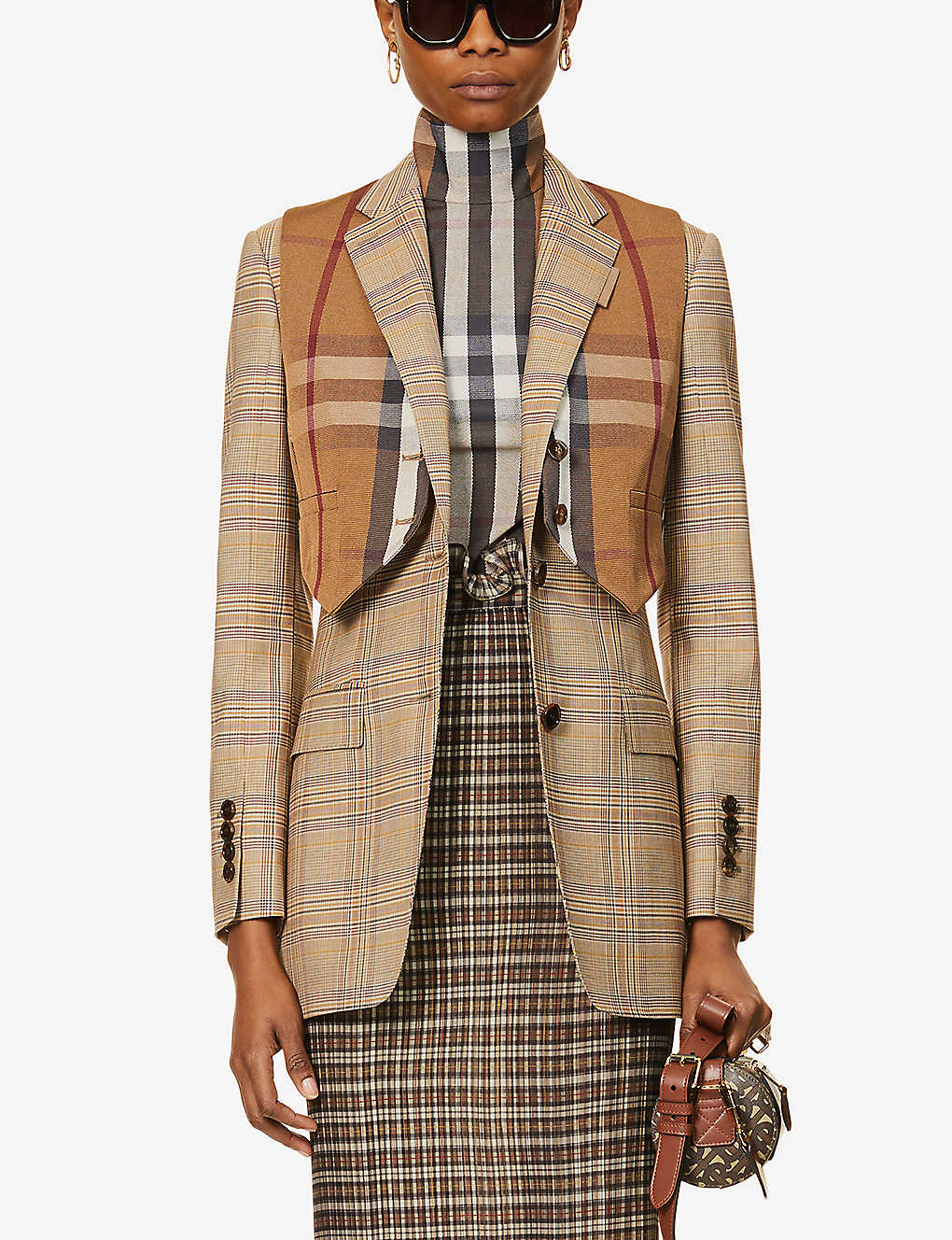 BURBERRY: Check-print single-breasted wool blazer
