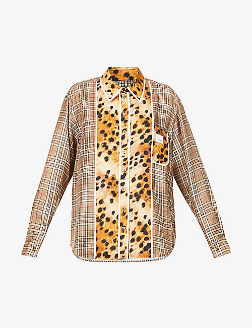 BURBERRY: Checked and animal-print silk shirt