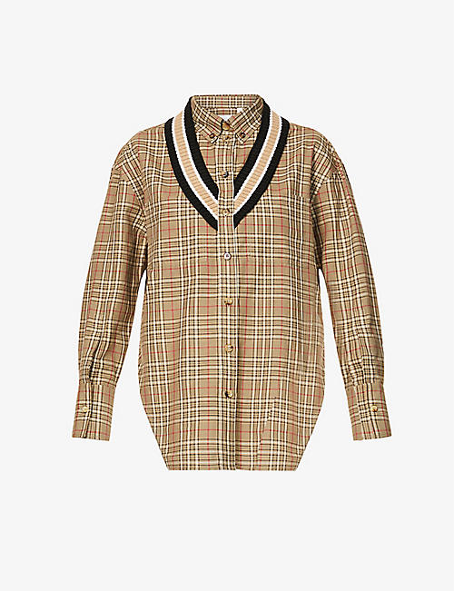 BURBERRY: Striped ribbed-trim checked cotton shirt